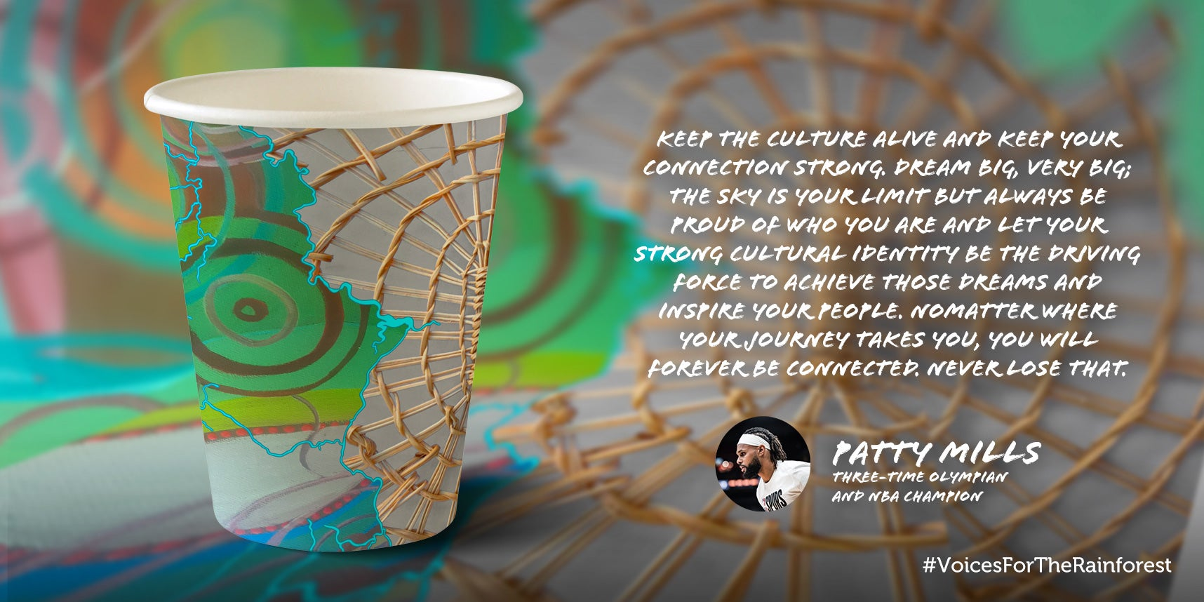 Patty Mills paper cup design
