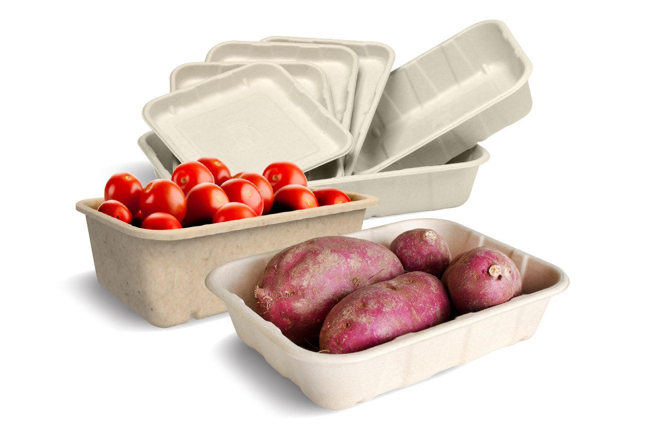 Produce trays with food crops