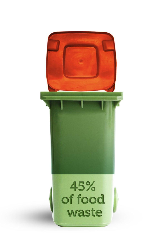 percentage of food waste in red landfill bin
