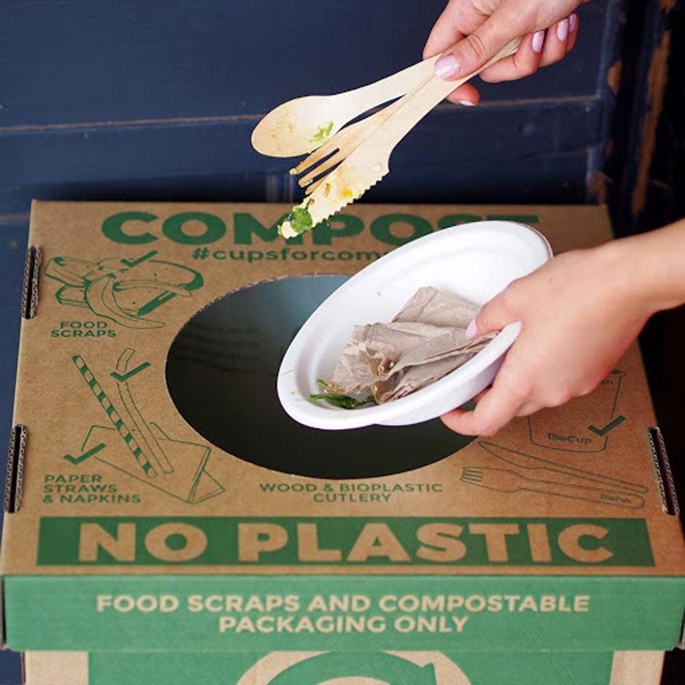 dirty packaging to bin