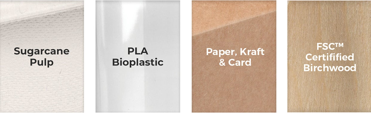 Close up photo of sugarcane pulp, PLA bioplastic and FSC™ certified paper materials used in takeaway packaging.
