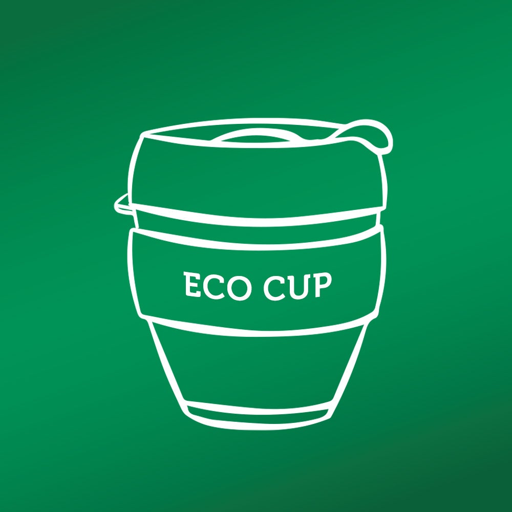 icon of reusable cup(s) like this against a green background