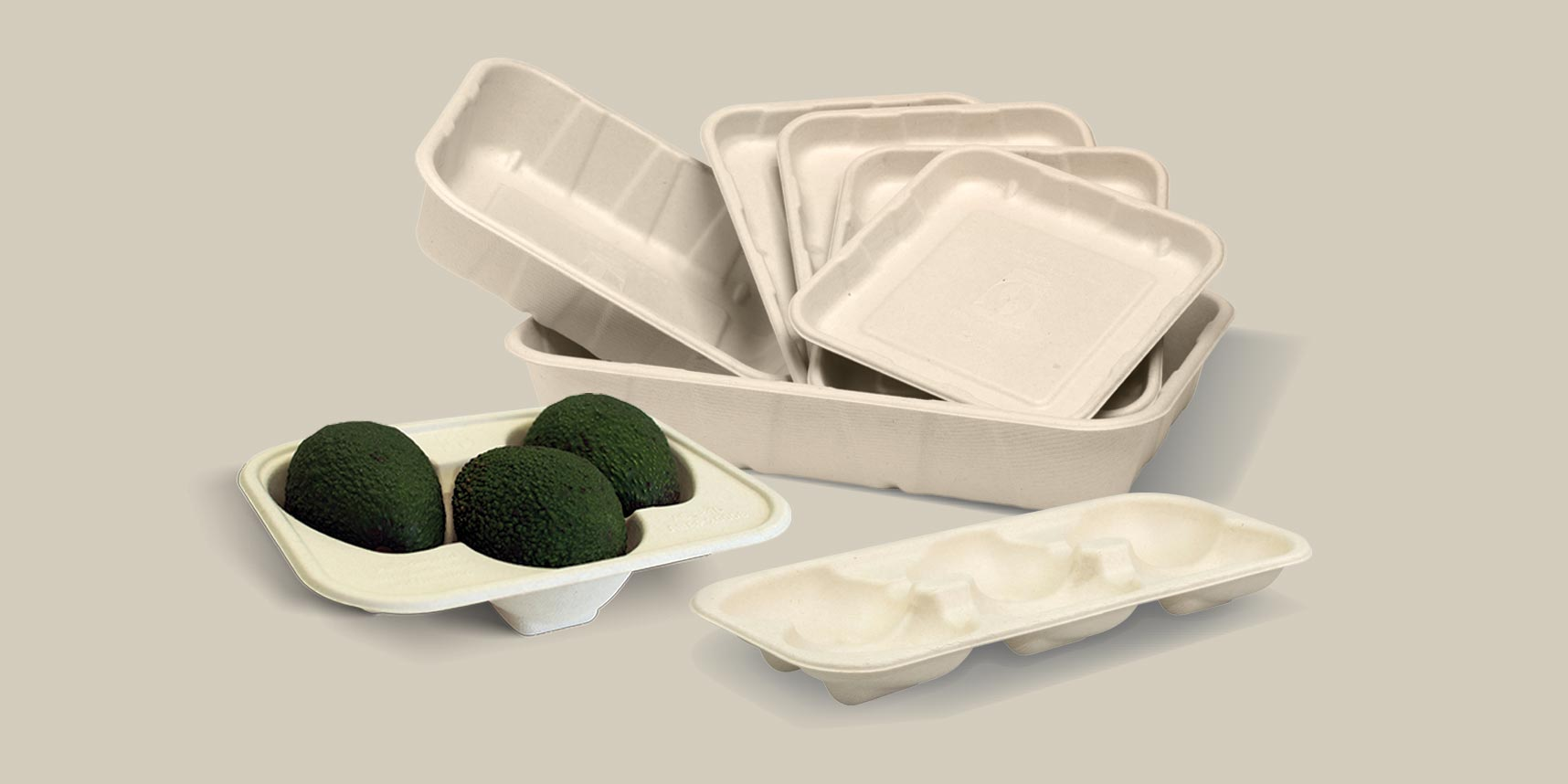 selection of moulded produce packaging